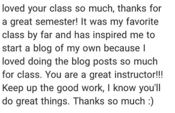 I got a number of individual emails from students after the class showing their gratitude and satisfaction with class like..